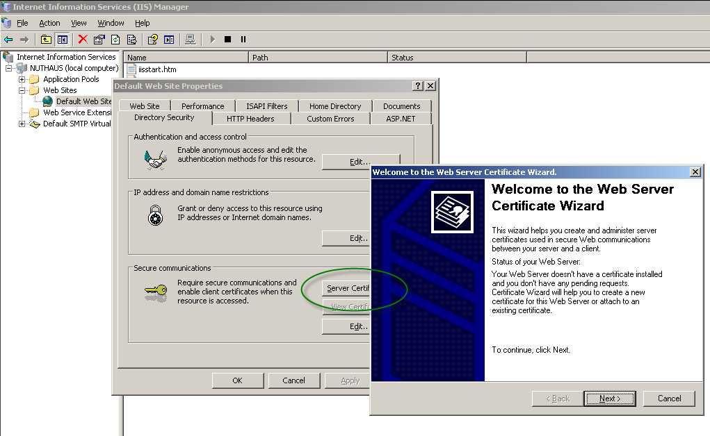 Open theWeb Server CertificateWizard