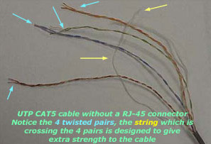 stripped CAT5 cable