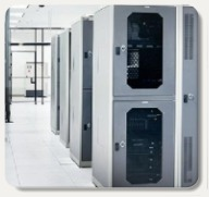 Data center cabinets in a ViaWest facility; Photo courtesy of ViaWest