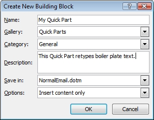Quick Part Building Block option