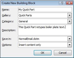 Quick Part Building Block option