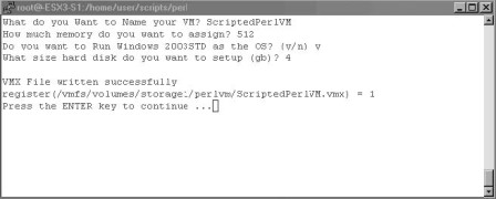 Scripting creation of virtual machines in perl scripts for Perl script template